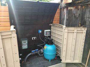 Plastový domček pre filtráciu