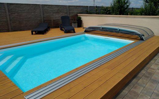 Biely bazén hranatý MODERN s rohovými schodíkmi