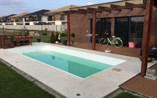 Biely bazén MODERN s lemom z trubky